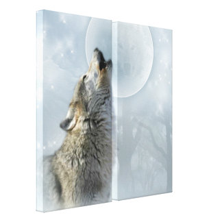LONA de la luna azul del lobo Impresion De Lienzo