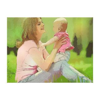 Lona de la madre y del bebé impresiones de lienzo