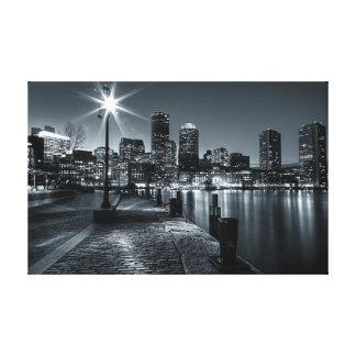 Lona de la noche del puerto B&W de Boston Impresion De Lienzo