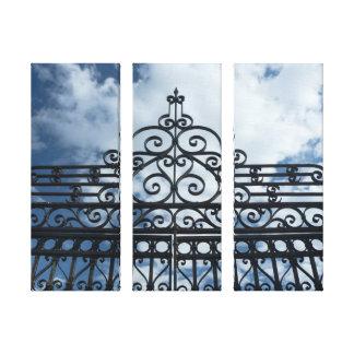 Lona de la puerta 3-Panel del hierro labrado Impresión En Lienzo