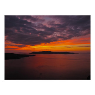 Lona de la puesta del sol 1 de Santorini Póster