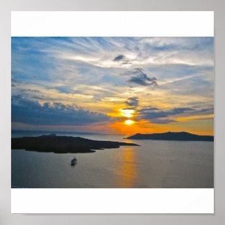 Lona de la puesta del sol 2 de Santorini Póster