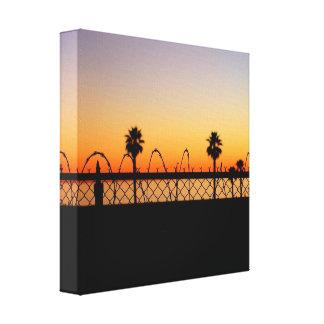 Lona de la puesta del sol de la playa del LA Lona Estirada Galerías