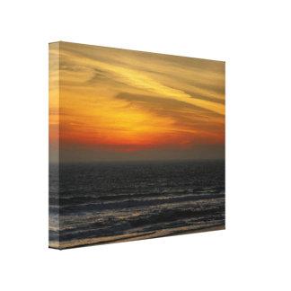 Lona de la puesta del sol de la playa lona envuelta para galerías