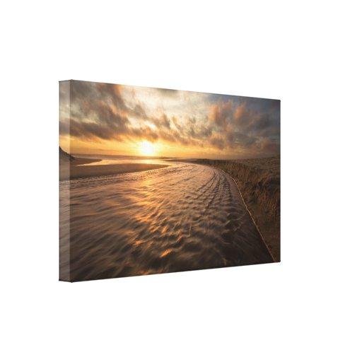 Lona de la puesta del sol de la playa: Playa de Mo Lona Envuelta Para Galerias