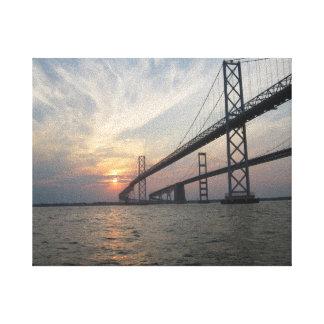 Lona de la puesta del sol del puente de la bahía d impresión en lienzo