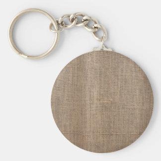 Lona de la textura de la arpillera llavero redondo tipo pin