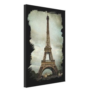 Lona de la torre Eiffel de París del vintage Lienzo Envuelto Para Galerias