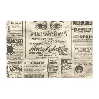 Lona de los anuncios de periódico del vintage - DI Impresión De Lienzo