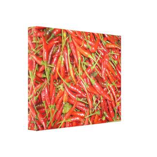 lona de los chiles calientes lienzo envuelto para galerias