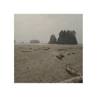 lona de madera con la imagen de la playa del empuj impresiones en madera