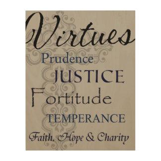 Lona de madera de las virtudes impresión en madera