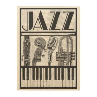 Lona de madera de los instrumentos del jazz cuadros de madera