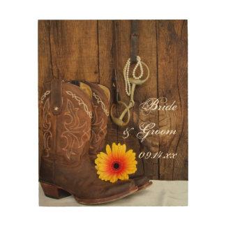Lona de madera del boda del pedazo de las botas d impresión en madera