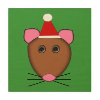 Lona de madera del ratón de las Felices Navidad Impresión En Madera