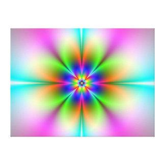 Lona de neón del fractal de la flor lienzo envuelto para galerias