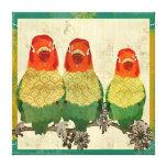 Lona de oro del vintage de los pájaros del amor impresión en lienzo estirada