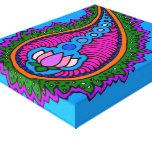 Lona de Paisley de la turquesa Impresión En Lienzo Estirada