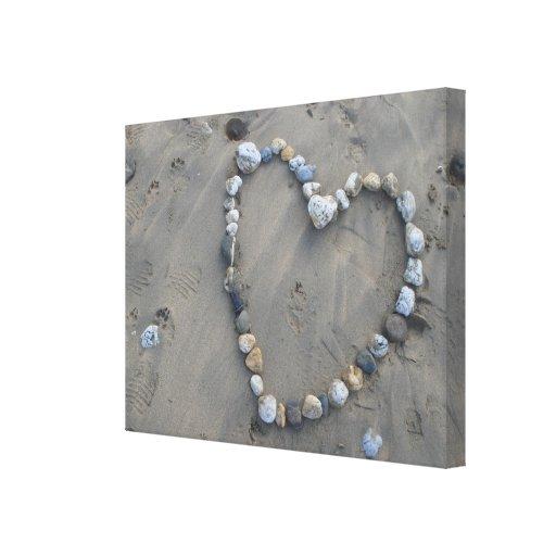 Lona de piedra del corazón impresión de lienzo