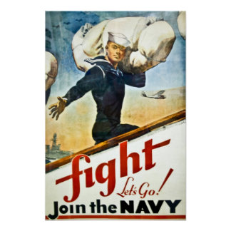 LONA de reclutamiento de la marina de guerra de WW Póster