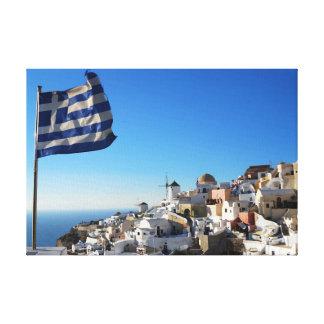 Lona de Santorini, ciudad medieval griega Impresiones En Lona Estiradas