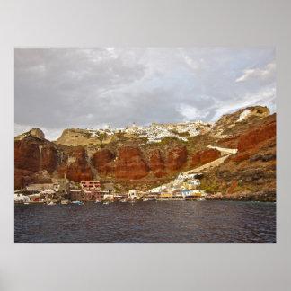 Lona de Santorini Oia Póster
