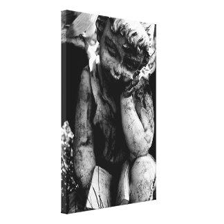 Lona del ángel del cementerio (negro y blanco) (24 impresiones de lienzo