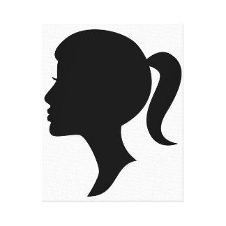 Lona del chica de la silueta del camafeo lienzo envuelto para galerias