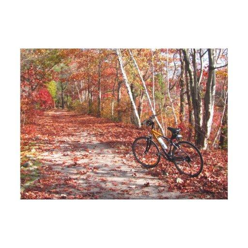 Lona del ~ del paseo de la bici del otoño impresión en lienzo estirada