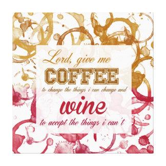 lona del humor del vino y del café lienzo envuelto para galerías
