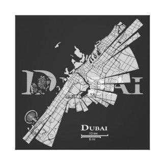 Lona del mapa de Dubai Impresión En Lienzo