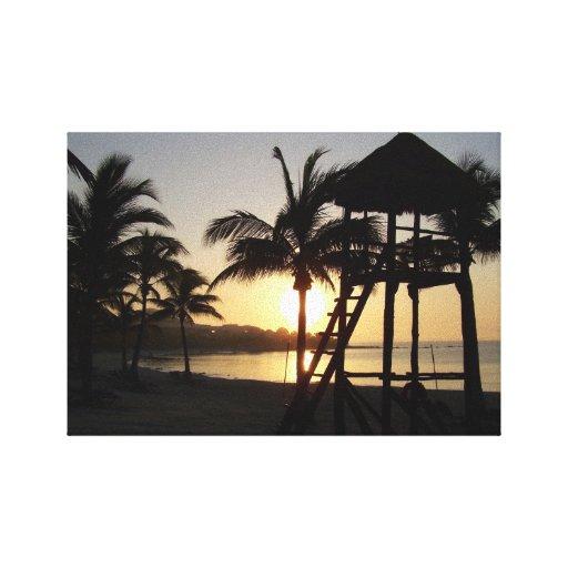 Lona del mar del Caribe de Cancun México del maya  Impresion De Lienzo