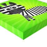 Lona del verde de la cebra de la diversión lona envuelta para galerías