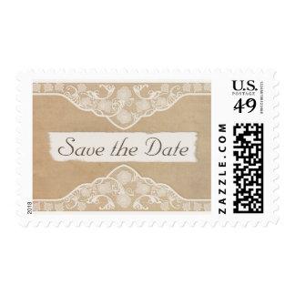Lona del vintage, papel y reserva de la mirada del sellos