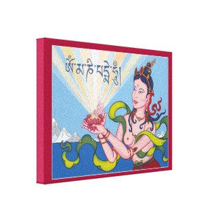 LONA - diosa de ofrecimiento con mantra tibetano Lona Estirada Galerias