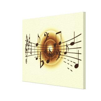Lona elegante de la pared de las notas musicales impresiones de lienzo