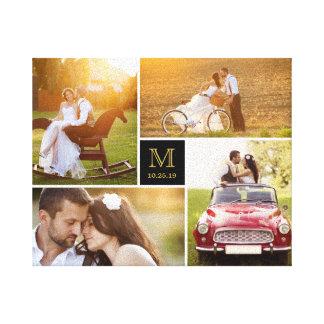 Lona elegante del collage de la foto del boda del impresión en lienzo