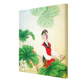""" lona envuelta 12x12 (lustre) con adorno chino lienzo envuelto para galerías"