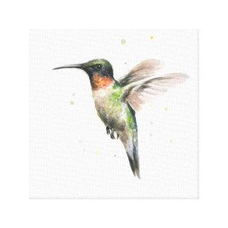 Lona envuelta acuarela del colibrí impresión en lona