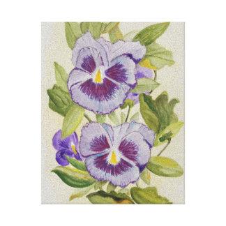 Lona envuelta acuarela púrpura de los pensamientos impresiones en lona