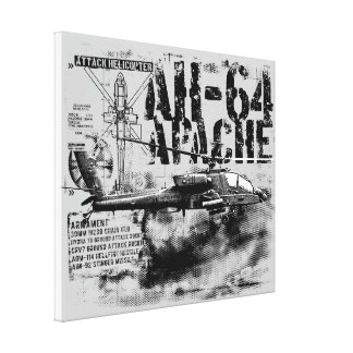 Lona envuelta Apache AH-64 Impresión En Lienzo