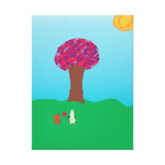 Lona envuelta árbol del corazón lienzo envuelto para galerías