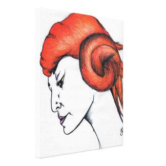 Lona envuelta arte cabelludo anaranjado del chica lienzo envuelto para galerías