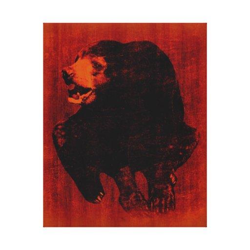 Lona envuelta arte del vintage del oso negro impresión en lona estirada