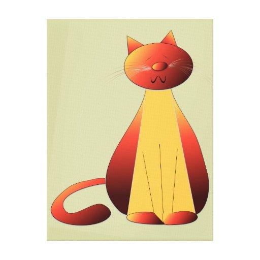 Lona envuelta arte lindo del gato del jengibre impresion en lona