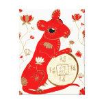 Lona envuelta astrología china de la rata impresiones en lona estiradas