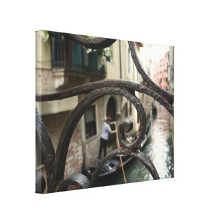Lona envuelta barandilla del hierro de Venecia Impresión En Lienzo
