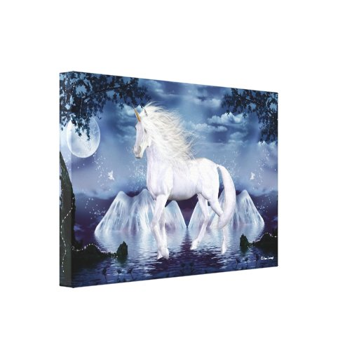 Lona envuelta belleza blanca del unicornio impresión en lienzo estirada