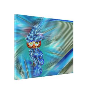 Lona envuelta búho azul mágico de la moda del impresión en lienzo