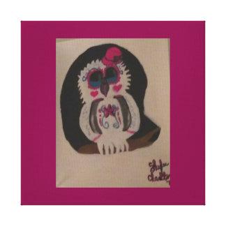 Lona envuelta búho magenta chillón gótico impresión en lienzo